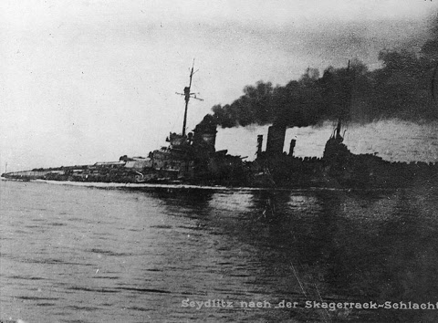 The severely damaged Seydlitz returning to port after the battle